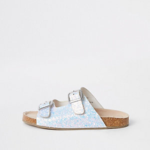 Girls white glitter buckle sandals