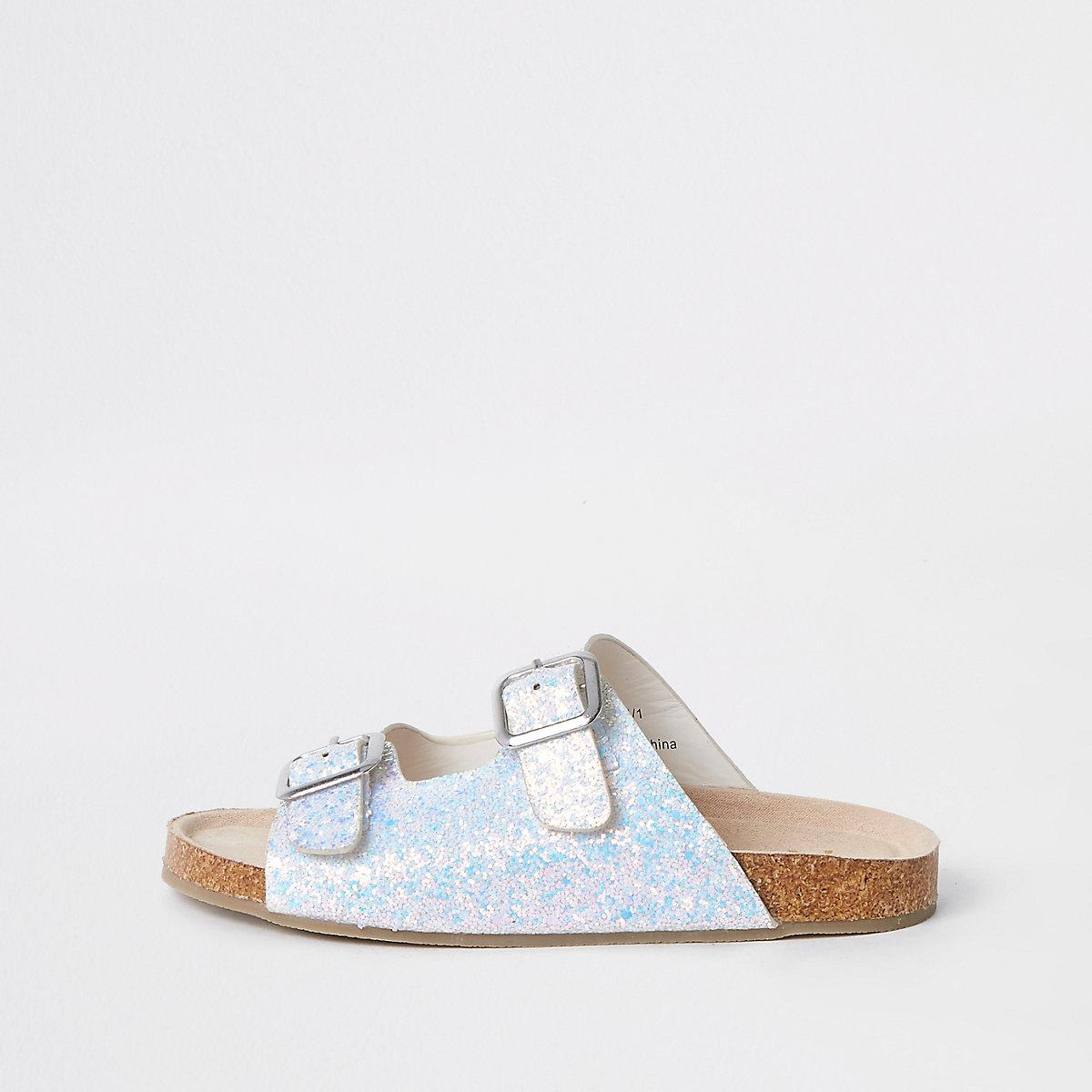 Girls white glitter buckle sandals