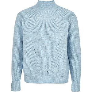 Girls blue roll neck knit jumper