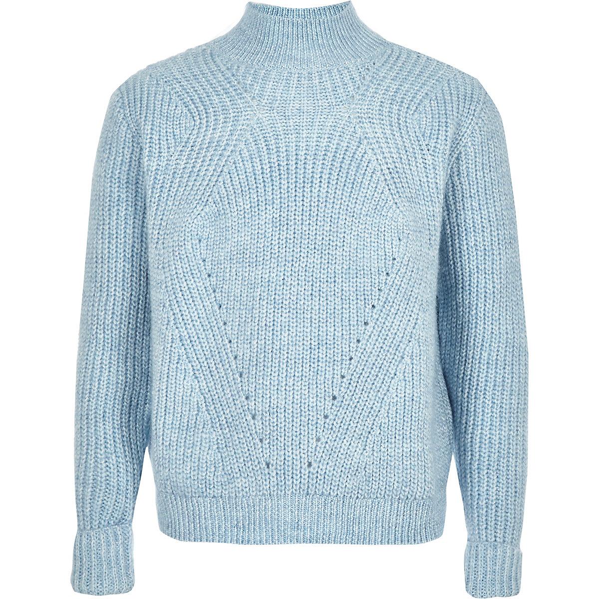 Girls blue roll neck knit sweater