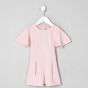 Mini girls pink frill sleeve playsuit