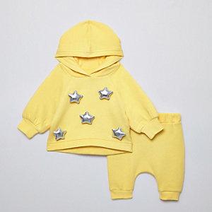 Ensemble avec sweat à capuche jaune motif étoiles oversize pour bébé