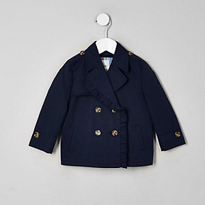 Trench court bleu marine mini fille