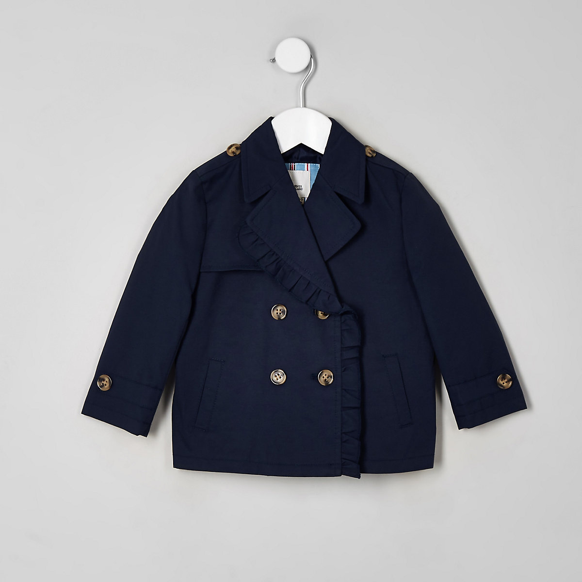 Mini girls navy crop trench coat
