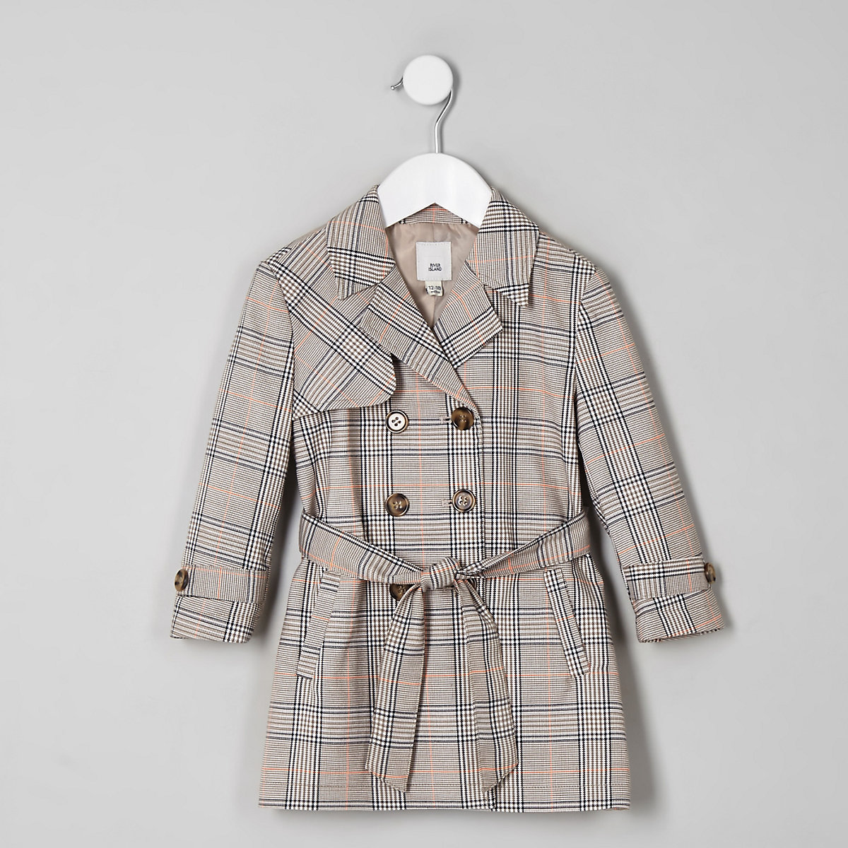 Mini girls beige check trench coat