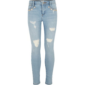 Girls light blue wash Amelie pearl jeans
