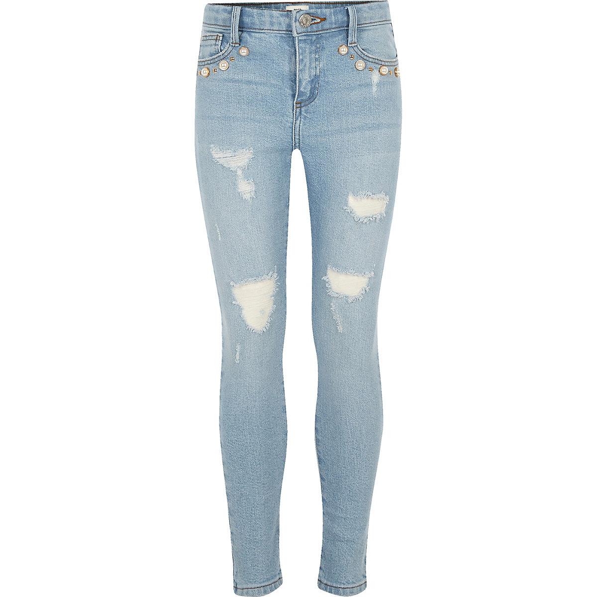 Girls light blue wash Amelie pearl jeans