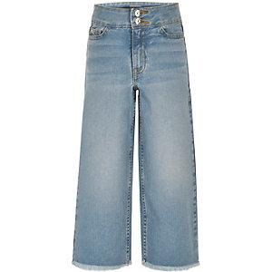 Girls blue wide leg jeans