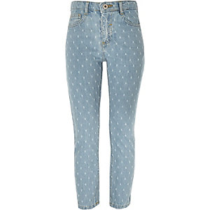 Blaue, perforierte Straight Leg Jeans