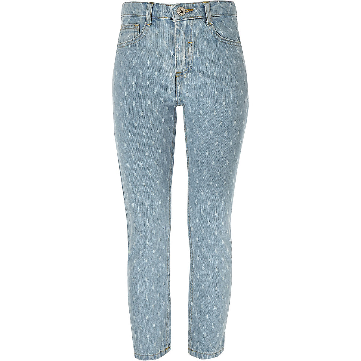 Girls blue perforated straight leg jeans