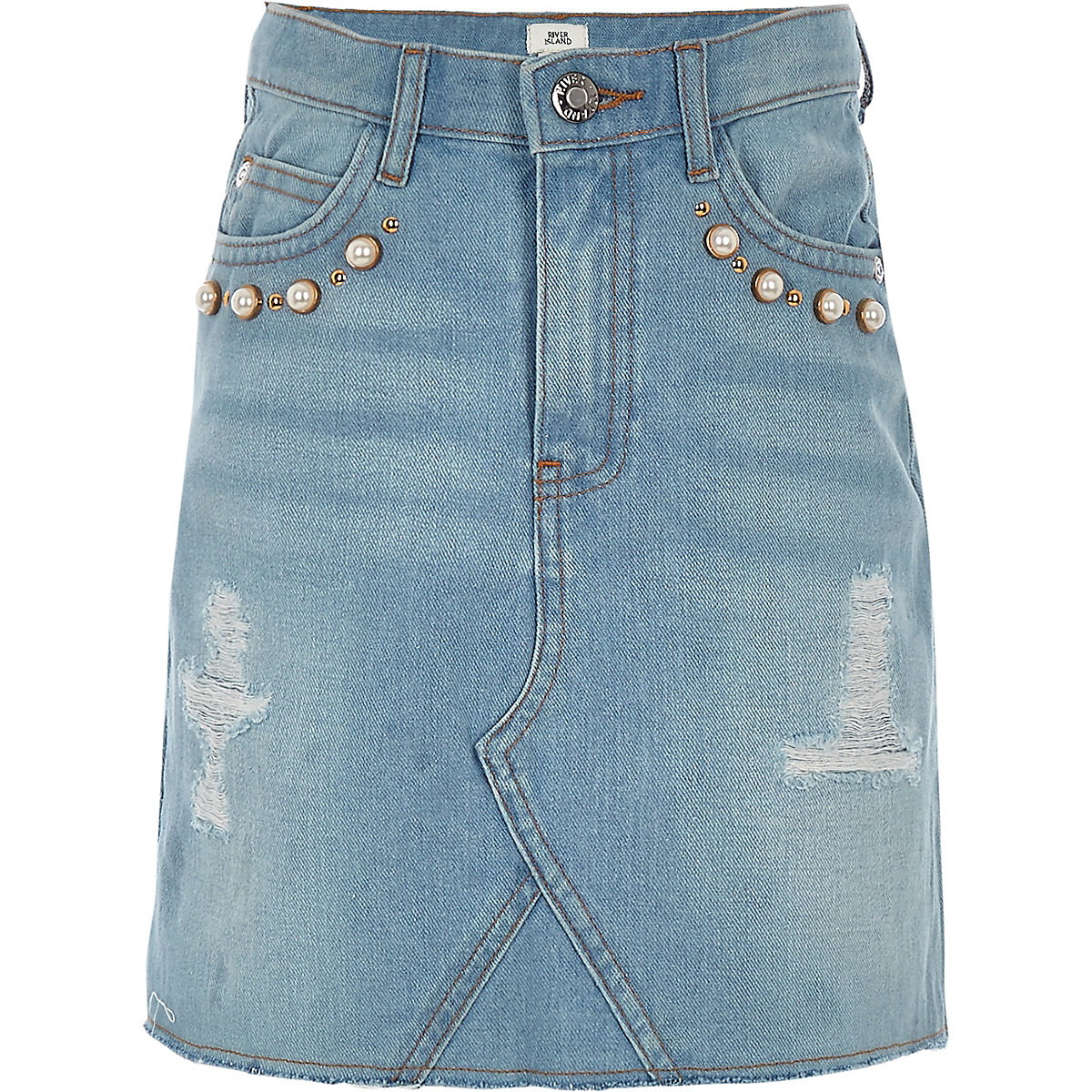 Girls light blue pearl A line denim skirt