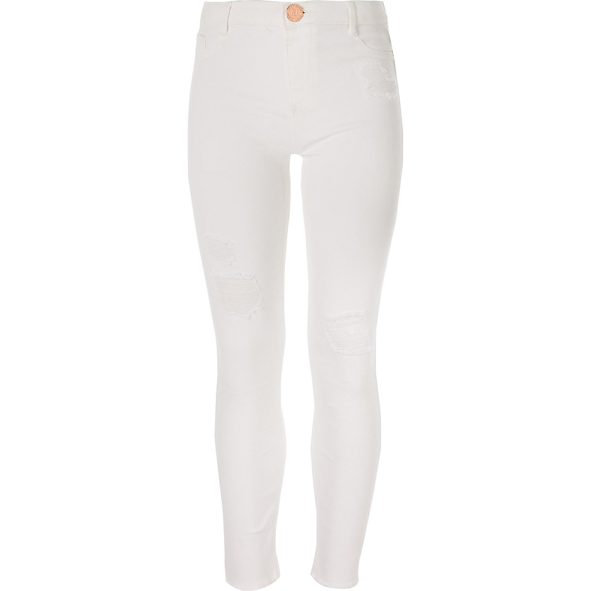 Girls white Molly ripped mid rise jeans