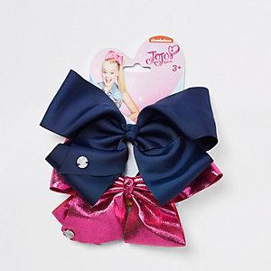 JoJo - Set met marineblauwe en roze strik voor meisjes