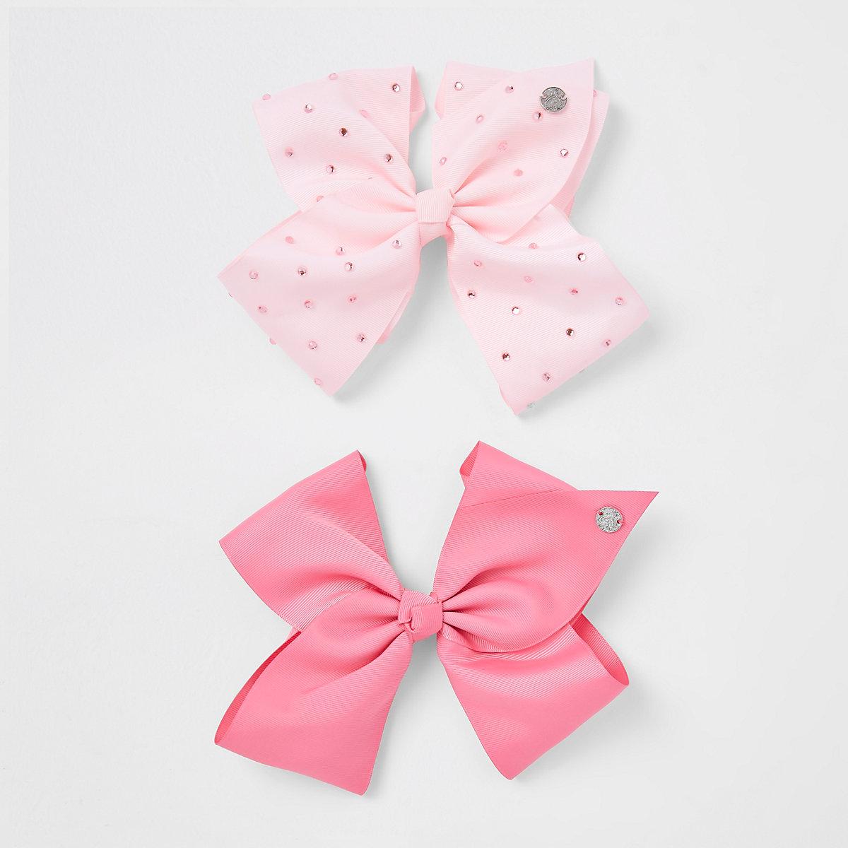 Girls pink rhinestone JoJo bow