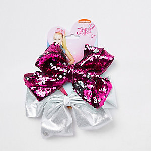 Girls embellished pink and silver JoJo bows