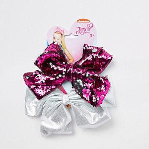 JoJo - Roze en zilverkleurige verfraaide strikken voor meisjes