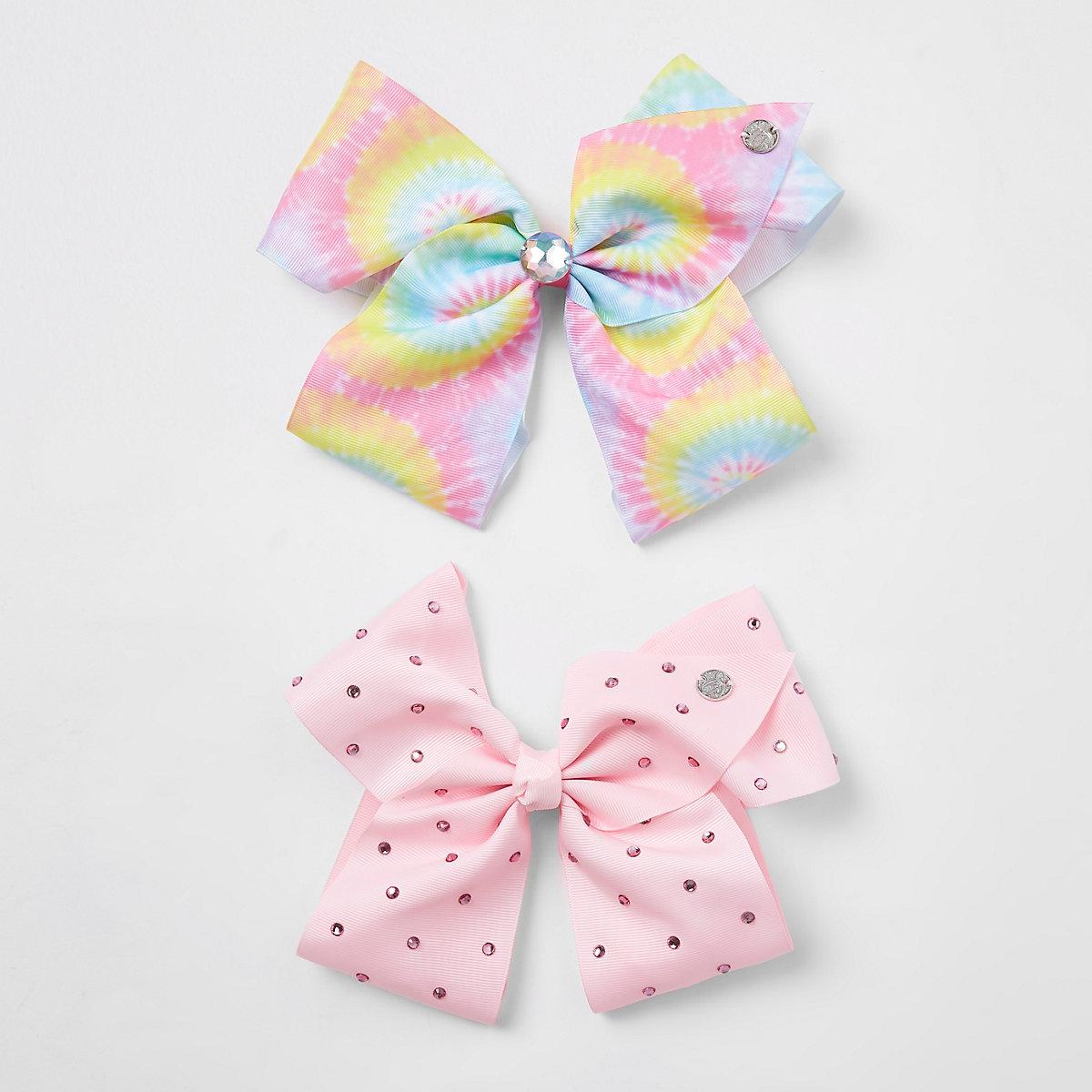 Girls pink rainbow pastel JoJo bow
