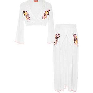 Witte strandoutfit met crop top en pailletten voor meisjes