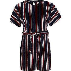Girls navy stripe plisse playsuit