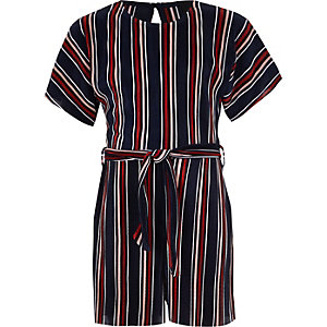 Girls navy stripe plisse romper