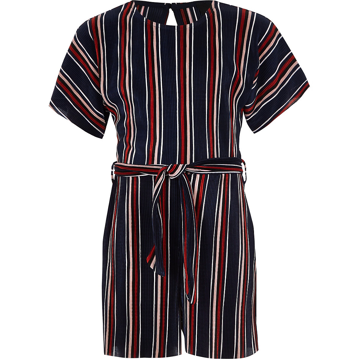 Girls navy stripe plisse romper