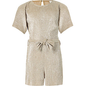 Girls gold metallic plisse playsuit
