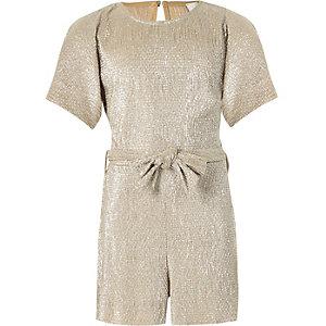 Goudkleurige metallic plissé playsuit voor meisjes