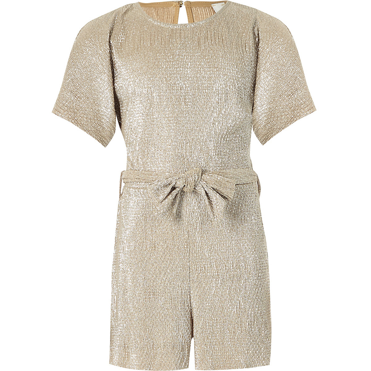 Girls gold metallic plisse romper