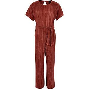 Girls rust plisse tie waist jumpsuit