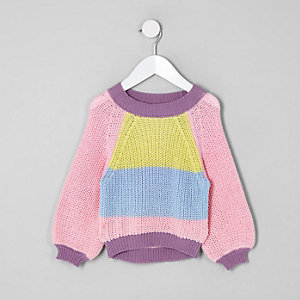 Mini girls pink color block slouch sweater