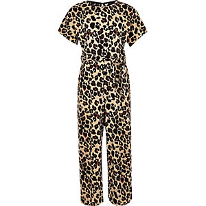 Girls brown plisse leopard print jumpsuit