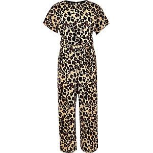 Girls brown plisse leopard print jumpsuit