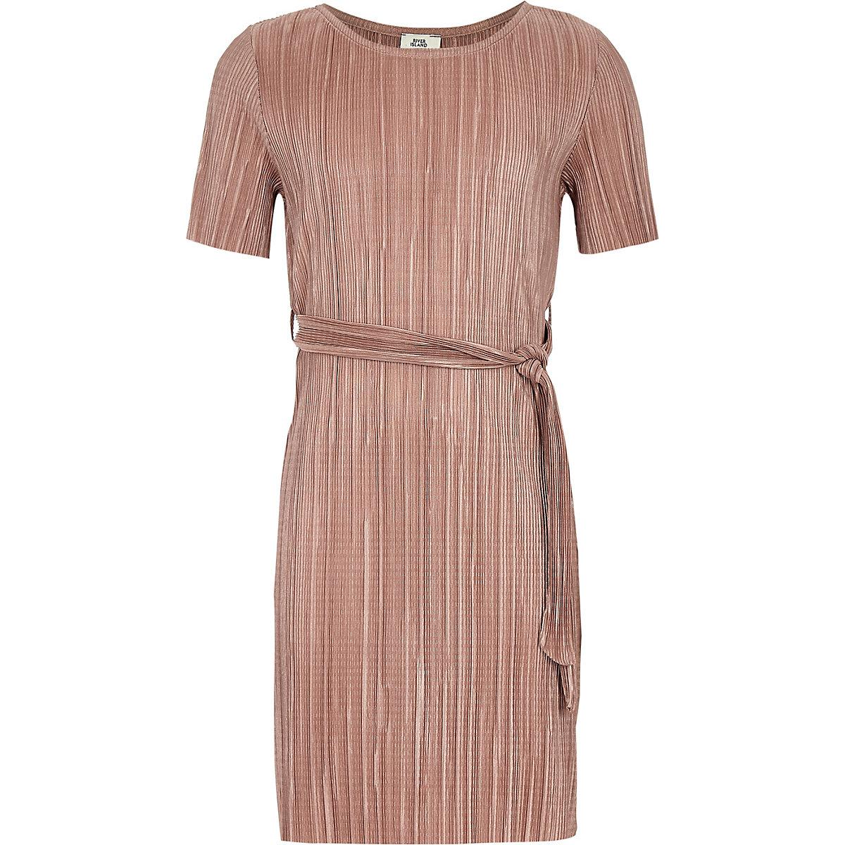 Girls light pink plisse T-shirt dress