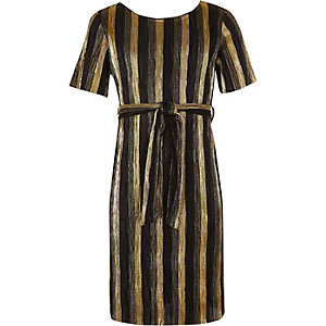 Gold stripe plisse tie waist dress