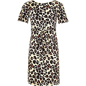 Girls brown leopard print tie waist dress