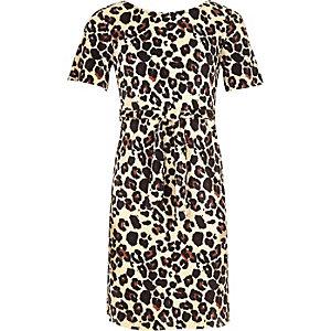 Bruine jurk met luipaardprint en strikceintuur voor meisjes