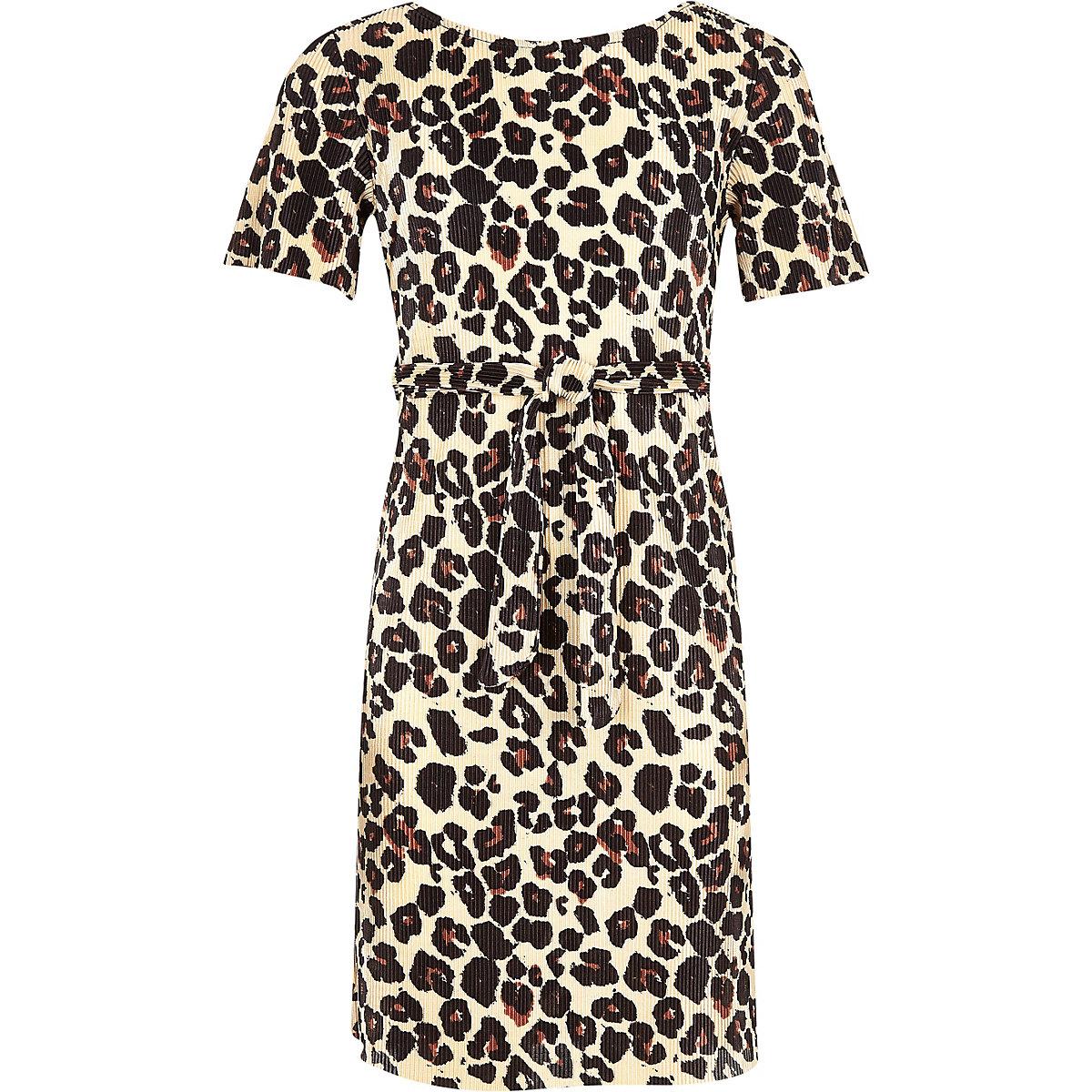 Girls brown leopard print tie waist dress