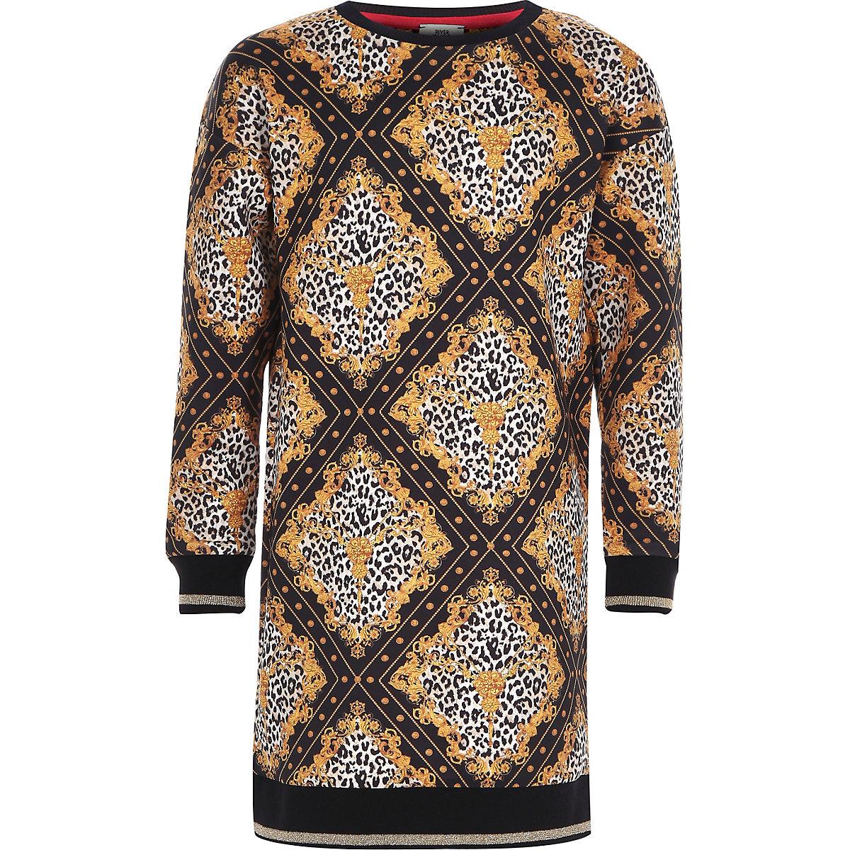 Girls black leopard baroque sweater dress
