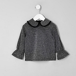 Mini girls grey metallic frill collar top