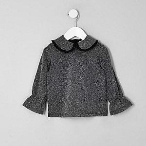 Mini girls grey metallic frill collar top