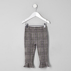 Mini girls grey check flute hem leggings