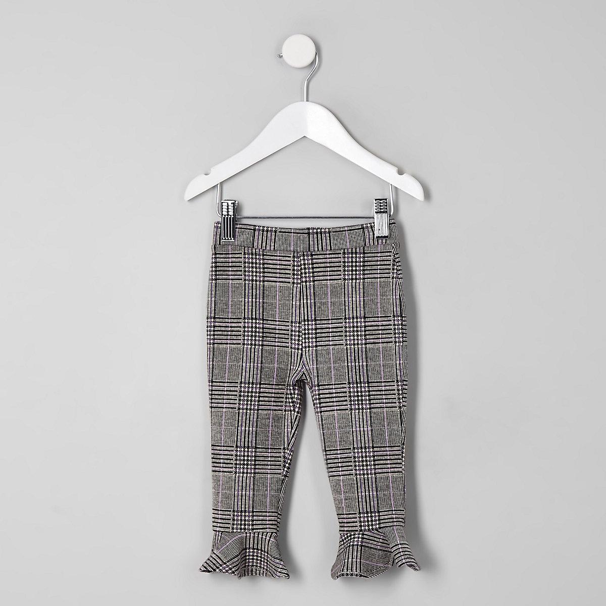 Mini girls grey check flute hem leggings