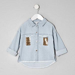 Mini - Denim shacket met pailletten en zak voor meisjes