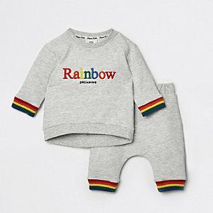 Grijze joggingbroekoutfit met regenboog voor baby's