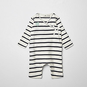 Baby navy stripe kimono wrap all in one