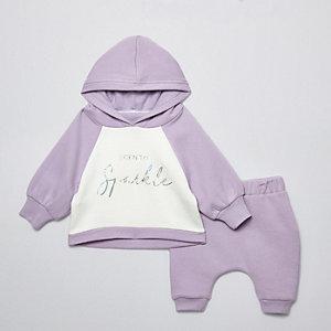 Ensemble avec sweat à capuche « Born to sparkle » lilas pour bébé