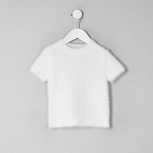 Mini girls white fluffy knit T-shirt