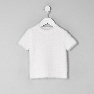 T-shirt en maille duveteuse blanc mini fille