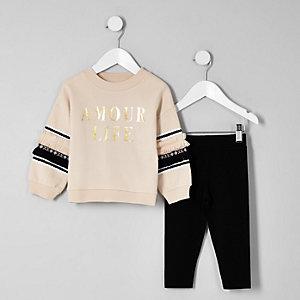 Mini - Outfit met beige sweatshirt en 'Amour'-print voor meisjes
