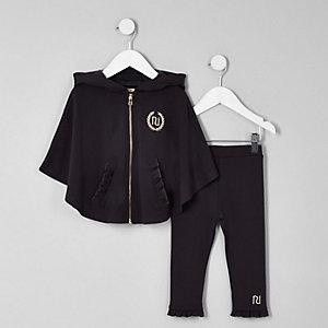 Mini - Outfit met grijze poncho met RI-logo voor meisjes